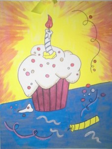Cupcake on Water color Paper
